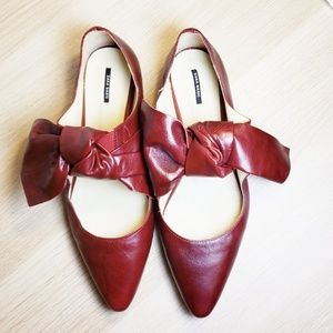 Zara Red Leather Bow Flats